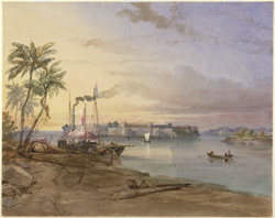 A steamer moored to the bank of a river, probably at Rohri on the Indus; in the background an island fort